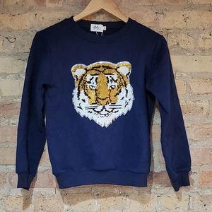 Lola & The Boys Tiger Flip Sequin Sweatshirt 12